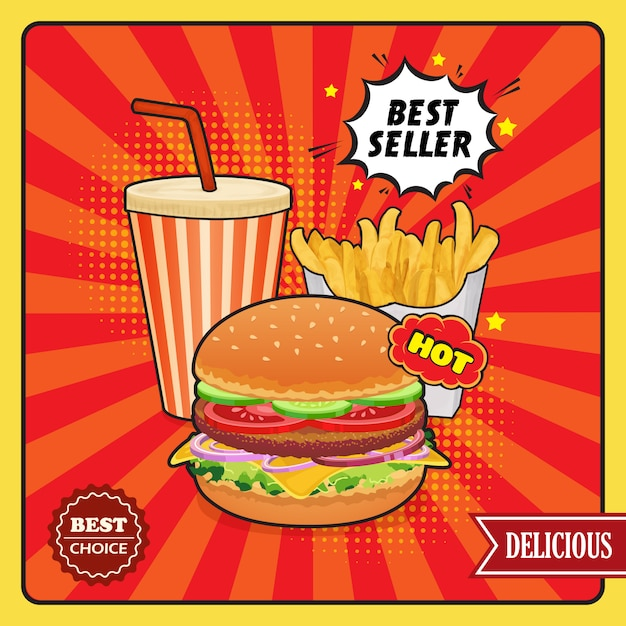 Fast food comic style poster Free Vector