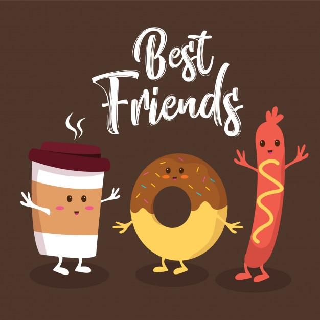 Fast food cute best friends characters Premium Vector