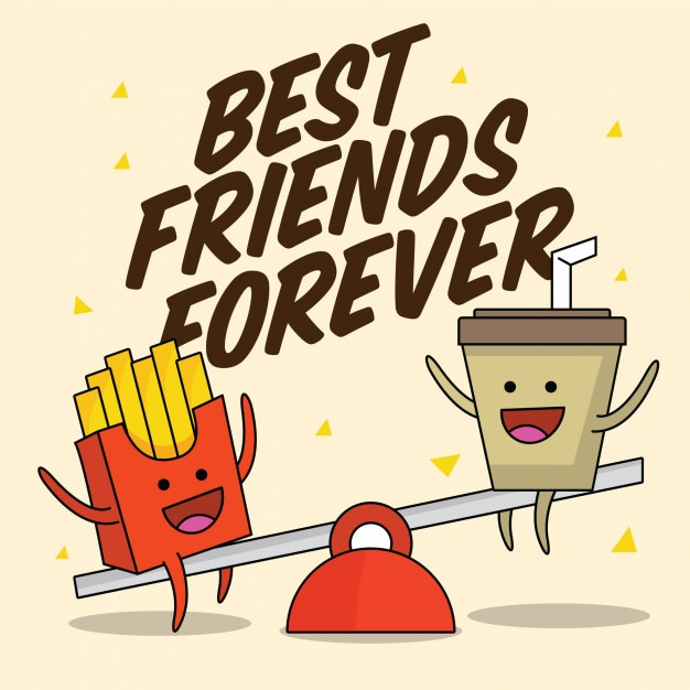 Fast food cute best friends characters Premium Vector