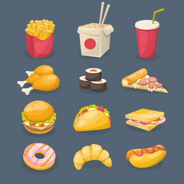 Fast food decorative icons Free Vector