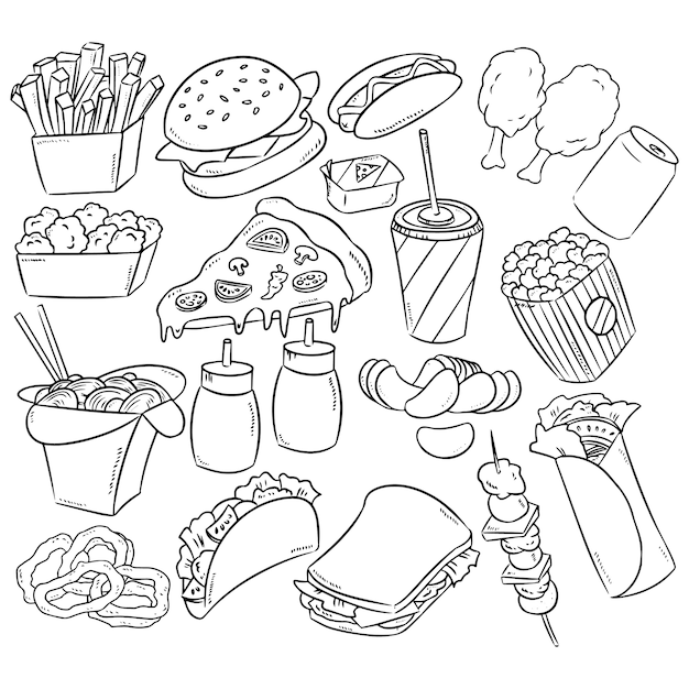 Fast food decorative seamless pattern Premium Vector