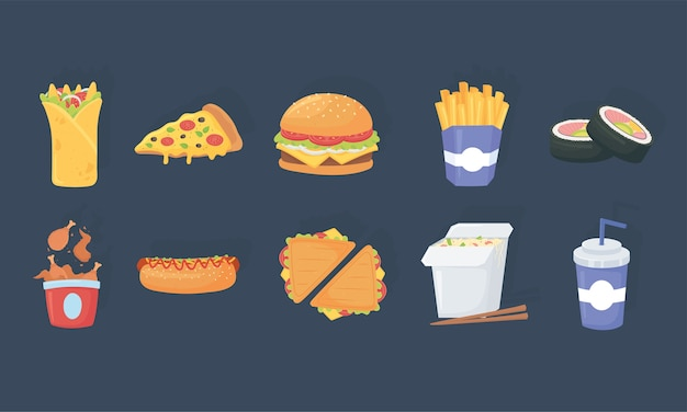 Fast food, delicious burrito pizza burger french fries sushi soda chicken hot dog icons Premium Vector