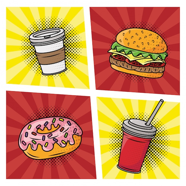 Fast food delicious pop art style Premium Vector