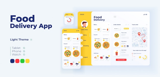 Fast food delivery app screen adaptive design template. italian pizza ordering application light mode interface with flat illustrations. smartphone, tablet, smart watch cartoon ui Premium Vector