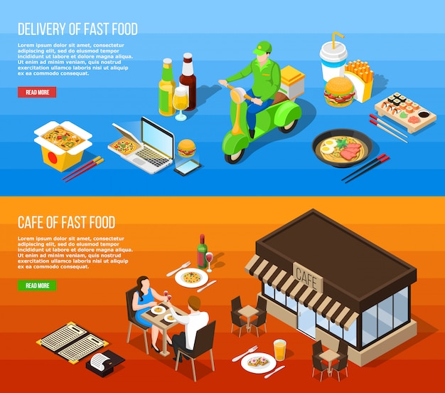 Fast food delivery isometric horizontal banners Free Vector