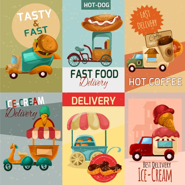 Fast food delivery posters Free Vector