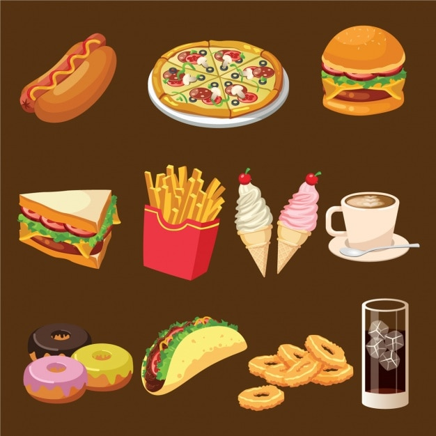 Fast food designs collection Free Vector