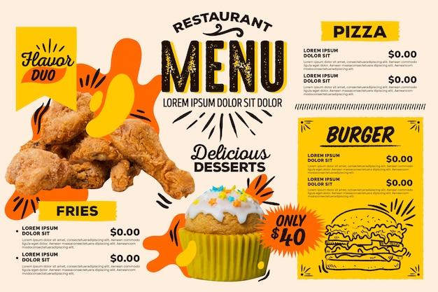 Цифровое горизонтальное меню ресторана быстрого питания Бесплатные векторы