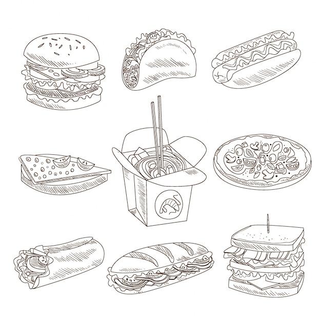 Коллекция doodle быстрого питания Premium векторы