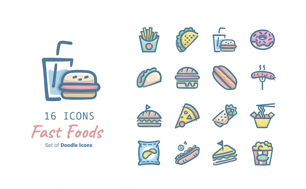 Fast food doodle icon collection Premium Vector
