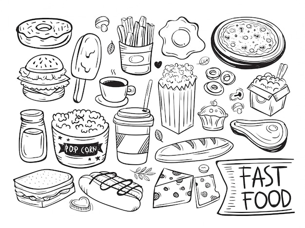 fast food doodle symbol and object vector premium