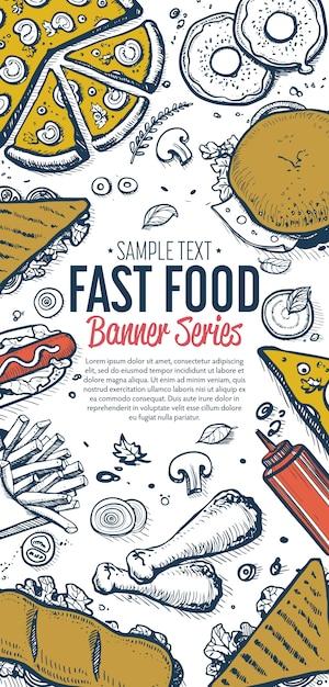Fast food doodles vertical banner menu Premium Vector