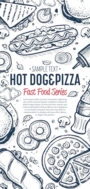 Fast food doodles vertical banner menu Premium Vector