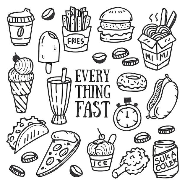 fast food and drink doodle premium vector