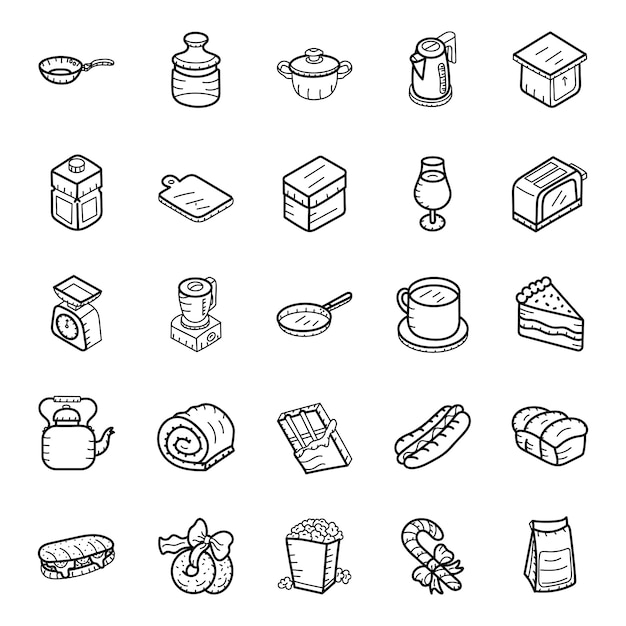 Fast food and drinks hand drawn icons pack Premium Vector