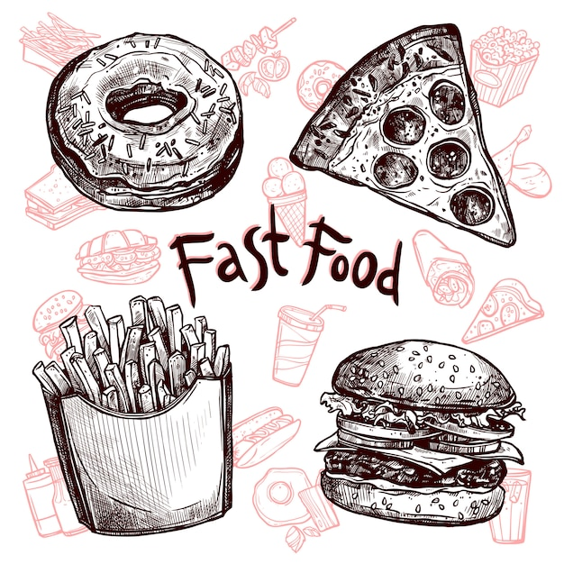 Fast food and drinks sketch set Free Vector