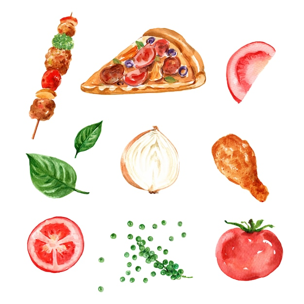 Fast food element design with watercolor Free Vector