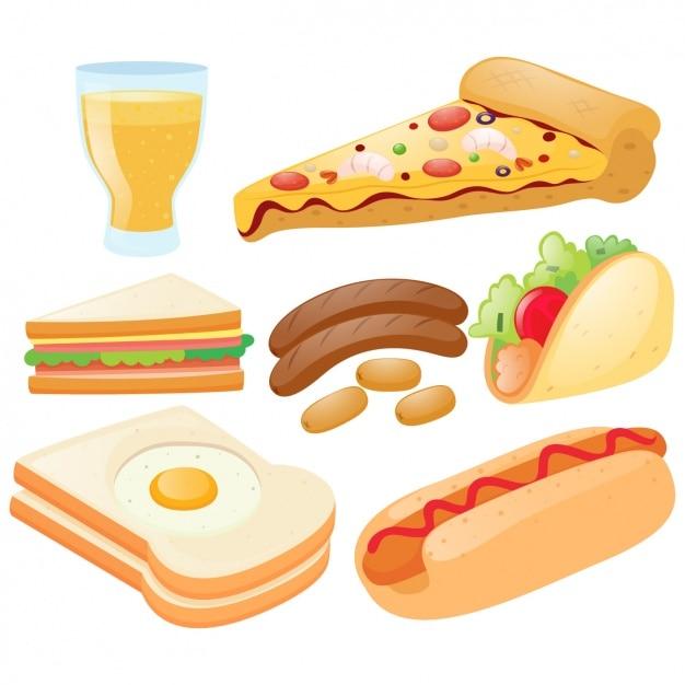 Коллекция быстрого питания элементы Бесплатные векторы