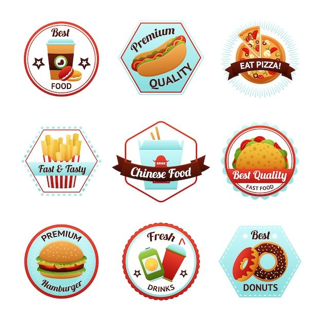 Fast food emblems Free Vector