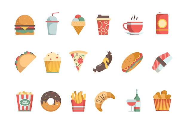 Fast food flat icons. sandwich burger cold drinks ice cream pizza hamburger vector food menu symbols Premium Vector
