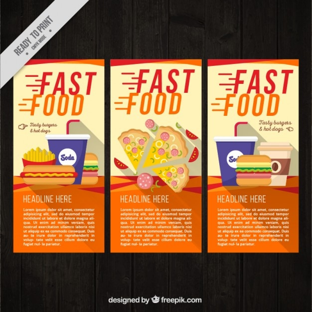 Fast food flyer collection Free Vector