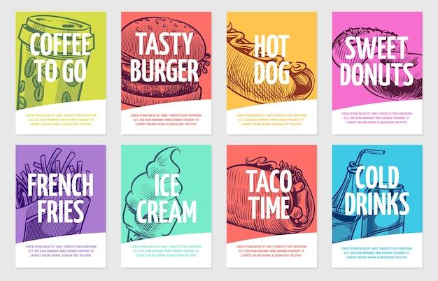 ファーストフードのチラシ。コーヒー、ハンバーガーとホットドッグ、パイとフライドポテト、アイスクリームとコーラ、サンドイッチ。レストランポスターテンプレートカードとランチバナー手描きセット Premiumベクター