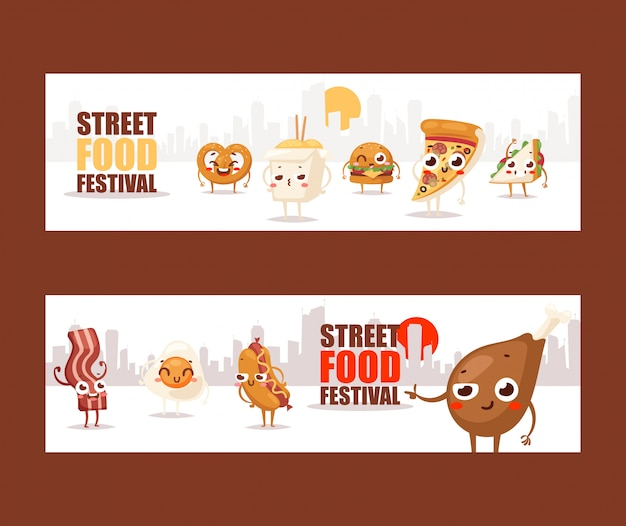 Fast food funny cartoon characters banners advertising a street food festival Premium Vector