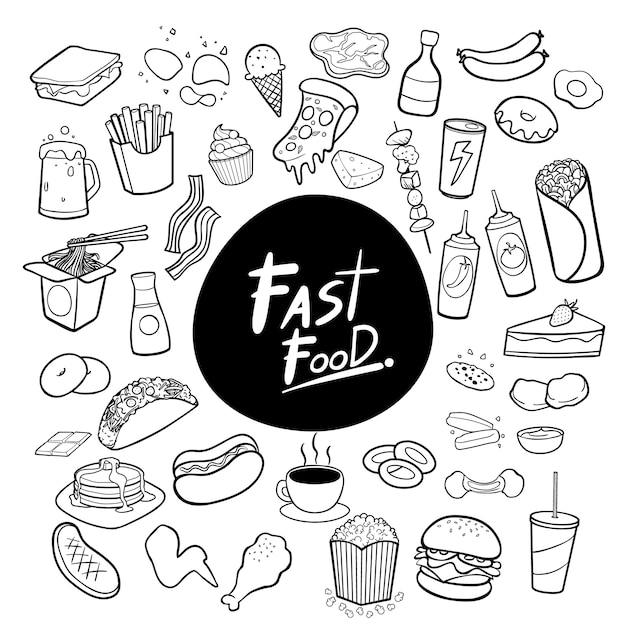 Fast food hand drawn doodles background vector Premium Vector