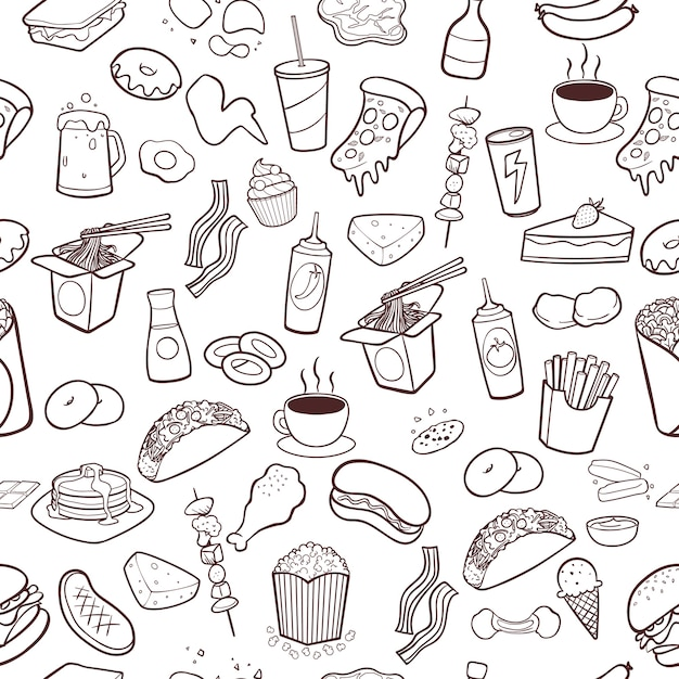 Fast food hand drawn doodles seamless pattern background Premium Vector