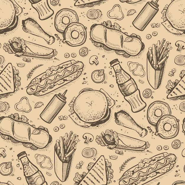 Fast food hand drawn vintage background Premium Vector