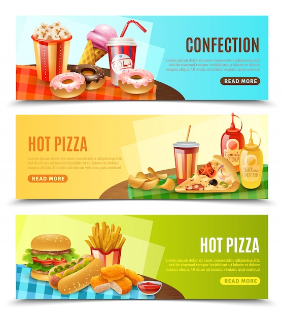 Fast food horizontal banners set Free Vector