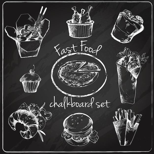 Fast food icon chalkboard Free Vector