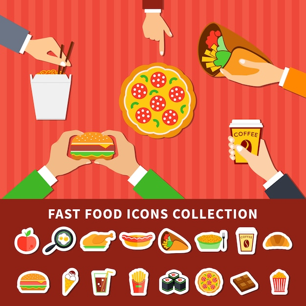 Fast food icons hands flat banners Free Vector