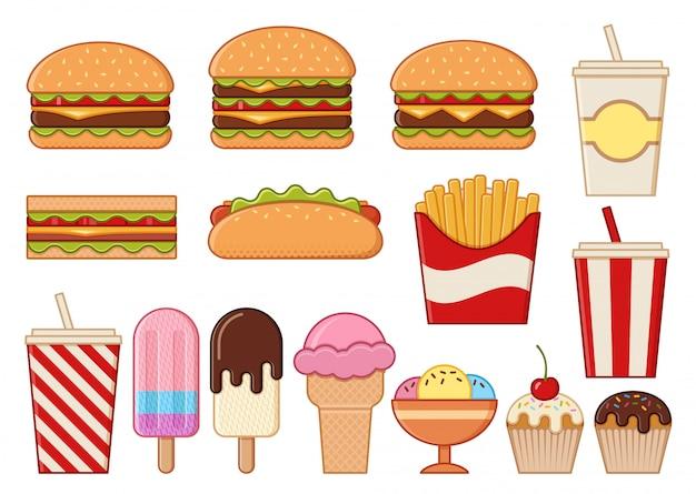 Иконки быстрого питания изолированы. , установите нездоровую еду. линейный ресторан закусок в квартире. хлам красочные кулинарные элементы. бургер, хот-дог, картофель фри и бутерброд. Premium векторы