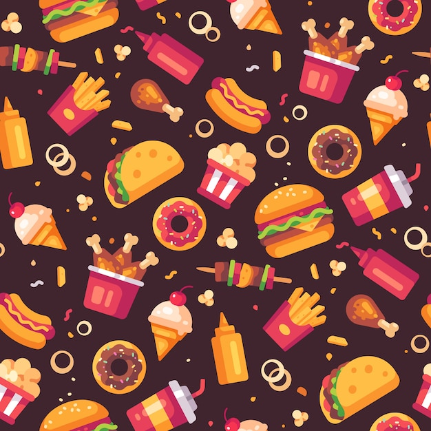 Fast food icons seamless pattern Premium Vector