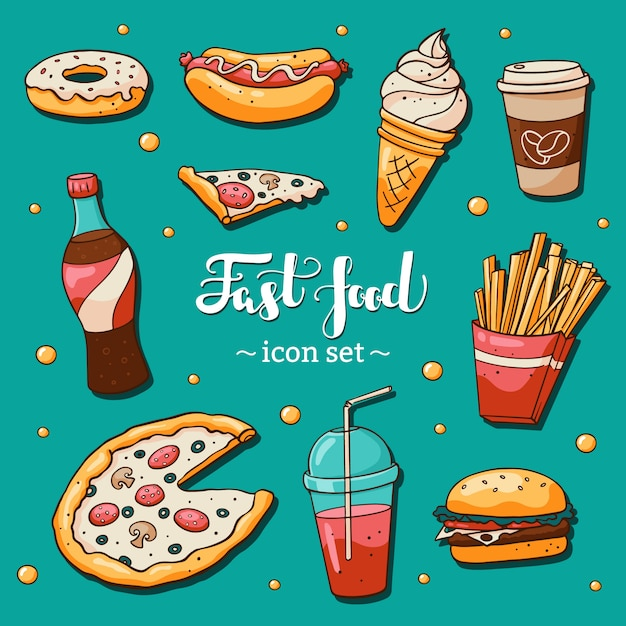 Fast food icons set on blue background Premium Vector