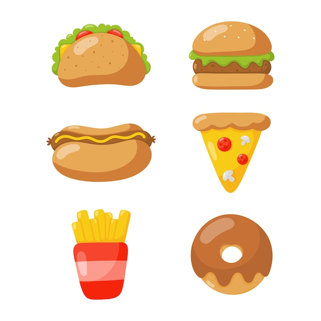 Fast food icons set cartoon style isolated on white background. Premium Vector