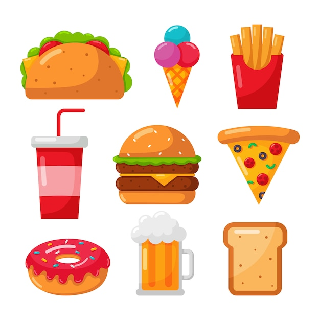 Fast food icons set cartoon style isolated on white Premium Vector