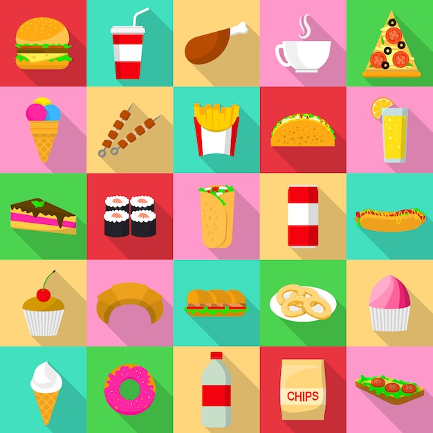 Fast food icons set. flat illustration of 25 fast food icons for web Premium Vector