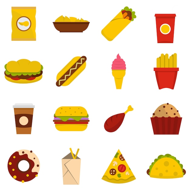 Fast food icons set in flat style Premium Vector
