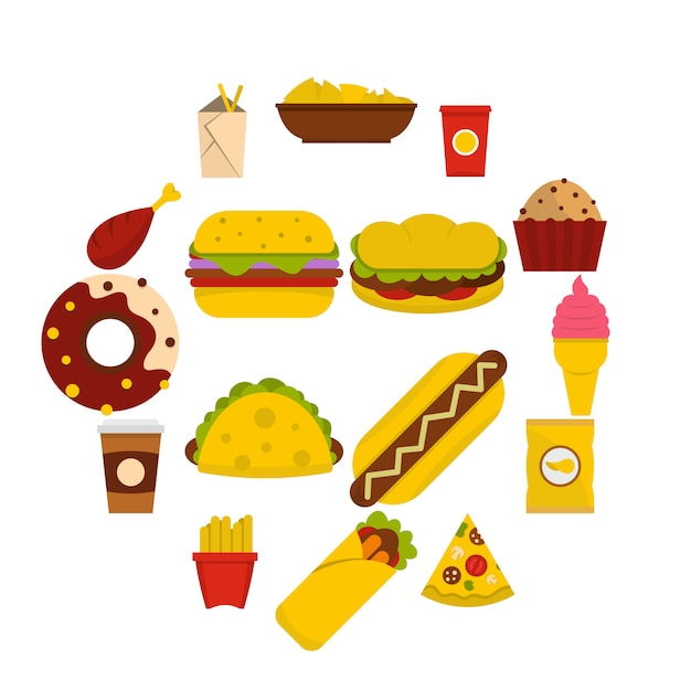 Fast Food Icons Set In Flat Style Vector Premium Download