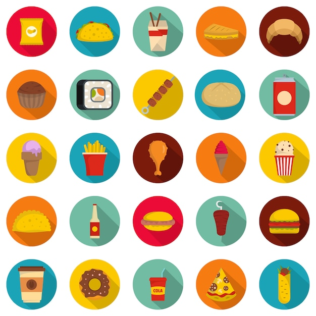Fast food icons set, flat style Premium Vector