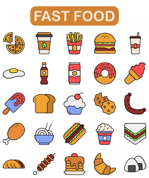 Fast food icons set, lineal color style Premium Vector