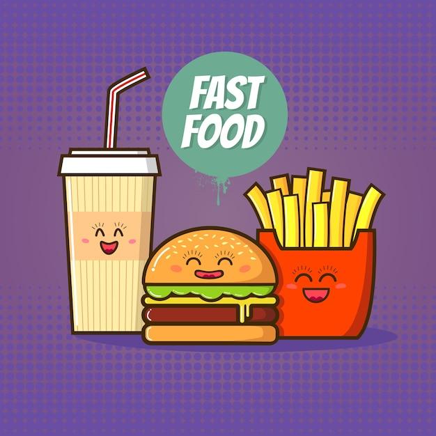 ファーストフードのイラスト。漫画のスタイルで面白いコーラ、ハンバーガー、フライドポテト。 Premiumベクター