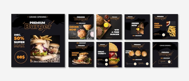 Fast food instagram post collection Free Vector