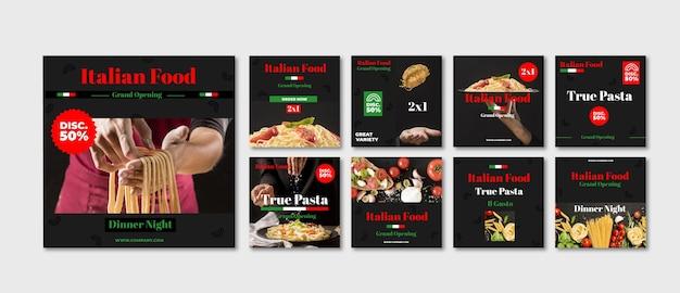 Raccolta di post instagram fast food Vettore gratuito
