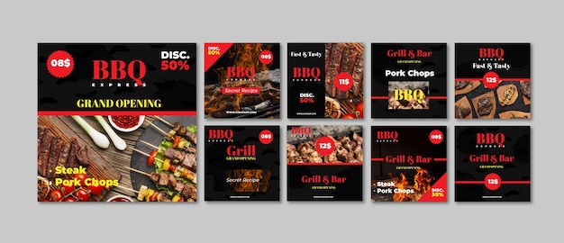 Fast food instagram post collection Premium Vector