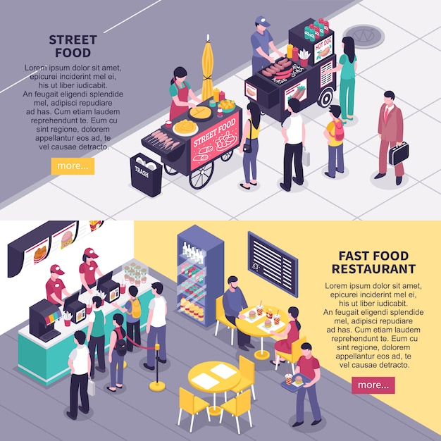 Fast food isometric banners Free Vector