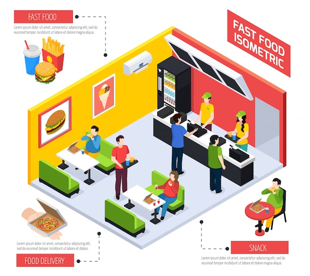 Fast food isometric composition Free Vector