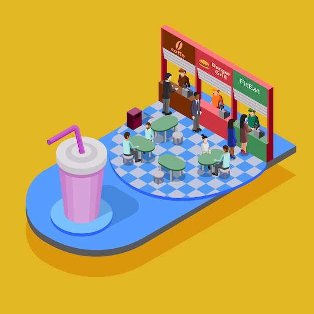 Fast food isometric concept Free Vector